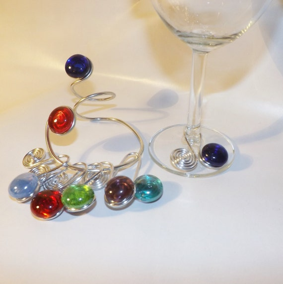 Wine Charms with Bottle Hanger Set, Colorful Wine Charms, Wine Bottle Wrap, Wire Wrapped, Wine Bottle Decor, Bar Decor, Wire Wrapped, Wine