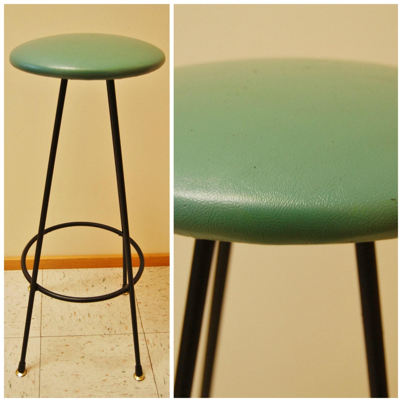 Green Kitchen Stools: MCM Tuff Stool Tall Bar Kitchen Drafting Seat / Chair Green