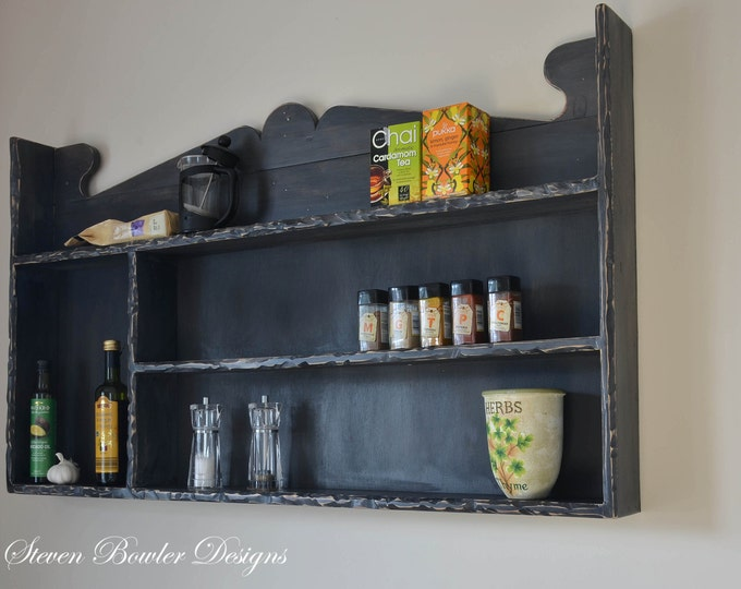 FREE UK SHIPPING Bespoke Farmhouse Country Cottage Reclaimed Wood Kitchen Shelving Unit Dark Grey Rustic Edging Handcrafted To Order