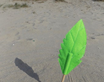 Green Felt Quill FEATHER Pencil Topper, Green Feather, Vegan
