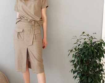 2 pieces skirt suit, Top and skirt suit, Relaxed fit two pieces set