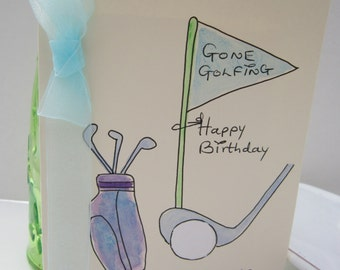 Watercolour card, Gone Golfing, Birthday Card, golfer card, dad card, husband card, son card, golfing card, golf card, personalise, golf