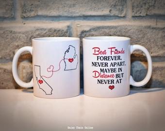 Long Distance Coffee Mug | Best Friends BFF Coffee Mug | Double Sided | State Mugs | Going Away Gift | Going Away Present | Custom State Mug