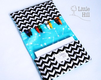 Crayon Wallet, 8 Crayons and Notepad Included, Art Party Favors, Kids Birthday Favors, Wedding Favors, Kids Organizer, Chevron and Arrows