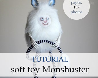Tutorial soft toy Monshuster, pdf, sewing tutorial, step by step guide, monster, Halloween, pdf pattern, fluffy toy, stuffed toy, e-pattern