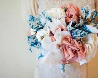 Fabric flower wedding bouquet - Blue & Pink - fabric flowers, brides bouquet, pink, blue, fabric, fabric bouquet, bespoke