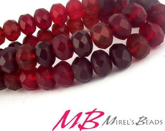 8x6mm Ruby Red Matte Rondelles, Faceted Rondelle, 12 pcs Czech Glass, Puffy Donut Beads