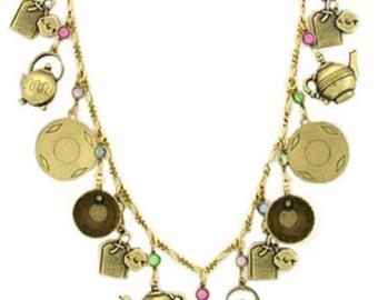 24k Gold Plated Art Deco Vintage Style Tea Time Wonderland Tea Party Charm Necklace