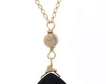 Classic 14k Gold Filled Faceted Onyx Briolette Necklace