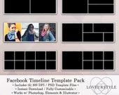 Facebook Timeline Template, Digital Template Pack, Timeline Cover, Photographers, Photoshop Template, Marketing Tools, Photo Template