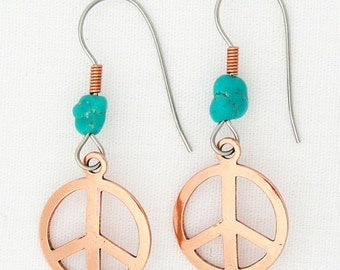 Copper Peace Sign Earrings with Turquoise Bead ECD135 Solid Copper Drop Earrings