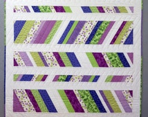 Graphic Modern Baby Quilt Flannel Back White Green Purple