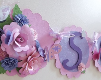 Flower banner/ name banner/ nursery banner/ room decoration