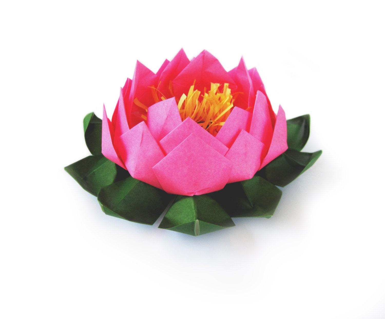 Fleur de lotus en papier lis deau lotus en origami - Origami fleur de lotus ...