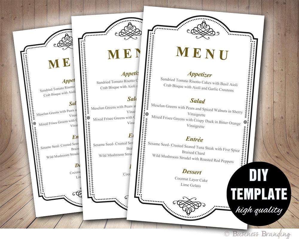 Elegant Wedding Menu Card Template DIY Wedding Menu