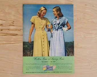 1940s - Womens Dress Advertisement  - Vintage Clothing - Antique Advertisement - Old Magazine Ad - Advertisement Print - WWII Era