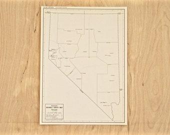 1945 - Nevada - Authentic Vintage Map - Unique Map of Nevada State - Old Antique Map - Unique Present & Gift Idea - 89/001