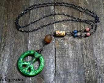 Bohemian African Trade Beads Peace Necklace, Rustic Oxidized Copper, Ceramic Peace Sign Pendant, Recycled Glass Beads, Earthy, Organic, Dark