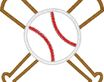 Crossed Baseball Bats Machine Embroidery Design 4x4 and 5x7