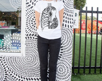 Guitar and Rib Cage T-shirt. Music Tee. Graphic tee. Gift for her. Gift for him. White cotton t-shirt. Hand drawn design. Zentangle art.