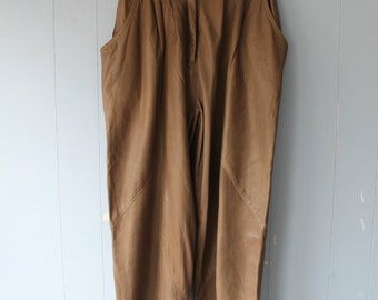 Vintage Leather Pleated, Slouchy Pants/Taupe/Neutral