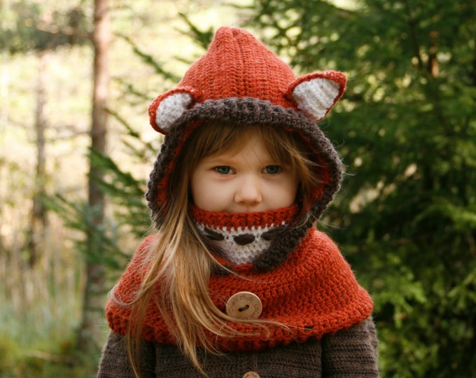 CROCHET PATTERN fox hooded cowl Reed with inner cowl  - in baby, toddler, child and adult sizes
