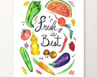Food Print, Eat Local, Kitchen Art, Foodie, Watercolor Print, Home Decor, Vegetable Art Print, Kitchen Wall Art, Fruity Decor, Vegan