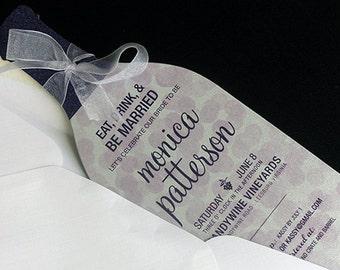 Wine Bottle Invitation | Die cut Wine bottle Invitation | Wine themed Bridal Shower Invitation
