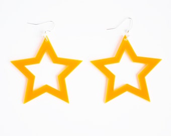 Bright neon orange laser cut acrylic star cutout statement earrings // other color options available