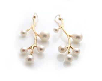 Pearl Branch Earrings, Gold Branch Earrings, Branch Earrings, Bridal Earrings, Pearls Earrings, Gold Earrings, Bridal Earrings, Gift for Her