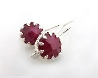 Ruby Earrings, Silver Earrings, Ruby Gemstone, July Birthstone , Ruby and Silver, Red Earring, Genuine Ruby, Wedding Jewellery, Gift for Her