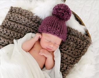 Pom Pom Baby Hat Knitted Newborn Prop Fig- Hibiscus Hat