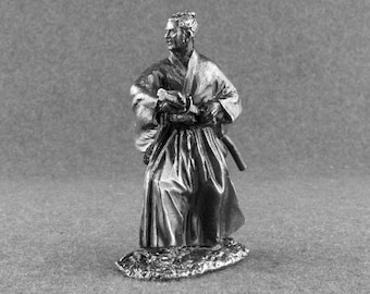 Japanese Samurai Toy Soldier 1/32 Scale Medieval Tin Metal Miniature 54mm Antique Collection Action Figurines