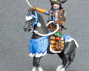 Toy Soldiers Figures Yamamoto Kansuke Medieval 1/32 Scale Samurai Horseman 54mm Hand Painted Tin Metal Miniature Sculpture - Free Shipping