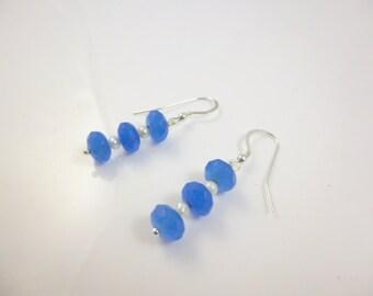 Blue Sapphire Earrings, Sterling Silver Gemstone Earrings, Dangle Earrings, Blue Bead Earrings