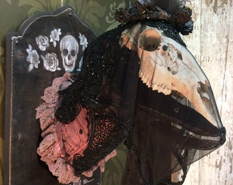 Mourning Doe ~ Rogue Taxidermy Mount ~ Real Deer Skull ~ Victorian Mourning ~ Macabre Oddity