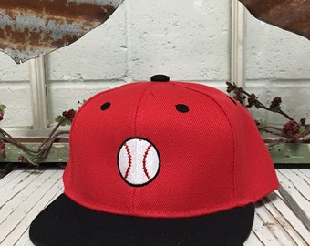 BASEBALL Embroidered KIDS Flat Bill Snapback Child Hat Children's Cap 2yrs to 8 yrs old - Red/Black Bill