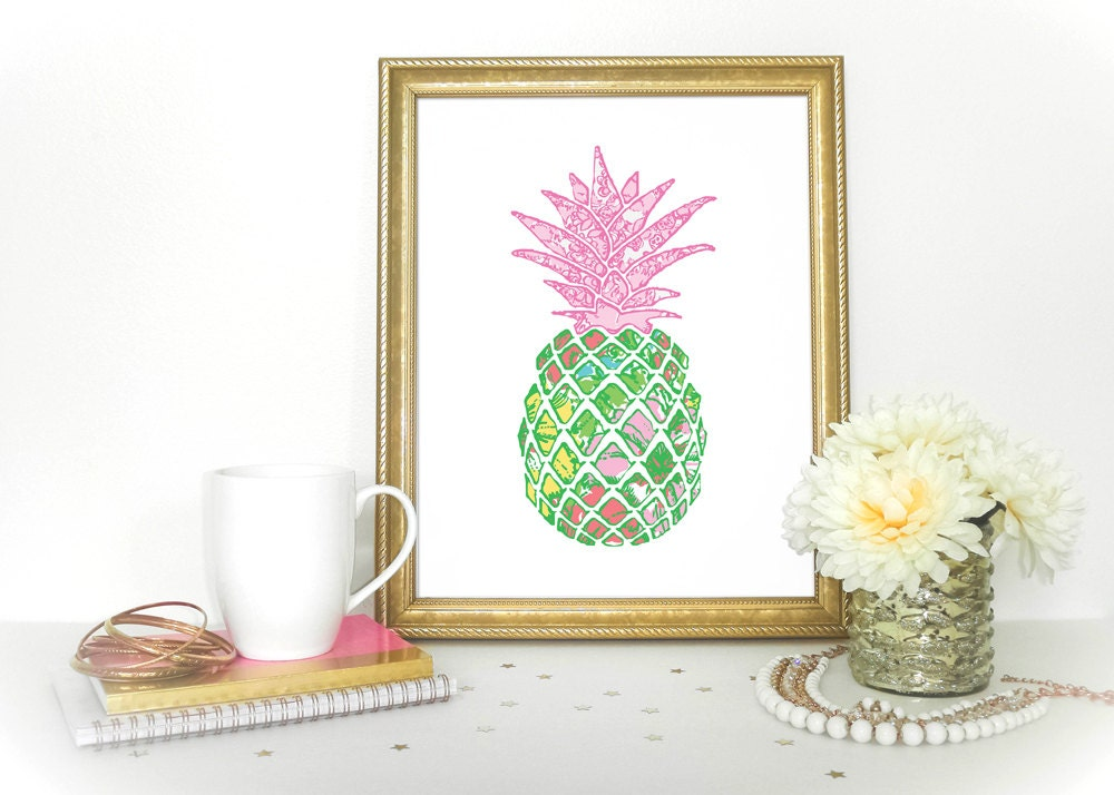 preppy pineapple home decor lilly pulitzer inspired