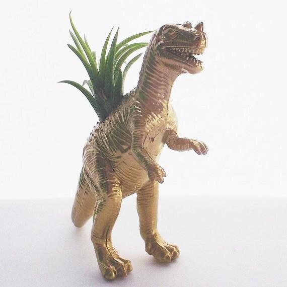 Dinosaur Planter Gold T Rex Air Plant Desk By Dinosaursgalore