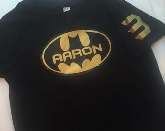 Batman Golden Birthday Boy Shirt tshirt personalize with name & age