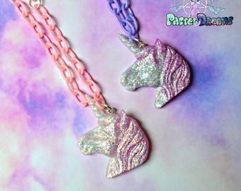 unicorn glittery necklace Pastel Goth, Soft Grunge, kawaii,soft grunge, lolita,harajuku,Fairy kei