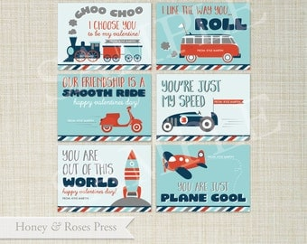 Trains, Planes & Automobiles Valentine's Day Cards . Transportation . Kids Valentines Cards. Printable Valentines . Instant Download