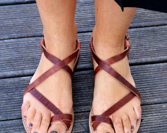 Leather Sandals, Waxed Brown leather sandals, Handmade Leather sandals, distressed leather sandals