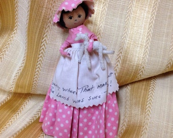 Clothespin Doll, Pink Clothespin Doll, Mary Had a Little Lamb, Clothespin Doll with Apron, Pink Polka Dot Dress Clothes Pin Doll