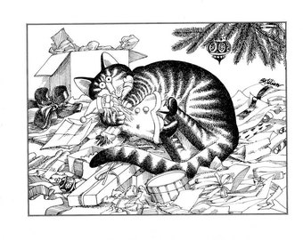 Christmas cat Kliban cat cartoon funny vintage print cat with christmas presents under the tree feline illustration 8.5 x 10.25 inches