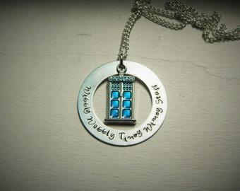Wibbly Wobbly Timey Wimey Stuff, hand stamped necklace