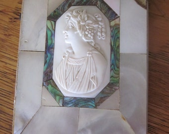 Victorian Mother of Pearl Calling Card Case With Greek Goddess Cameo