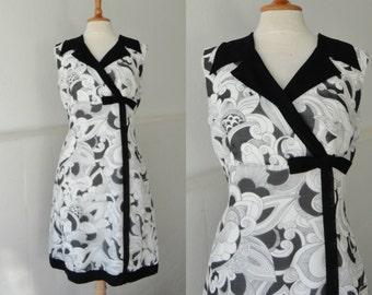 70s Vintage Dress With Bow // Racell Model // Black White // Size 42 // Danish Design // Made In Denmark