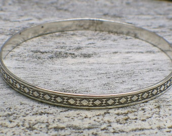 Danecraft Sterling Silver Geometric Bangle Bracelet