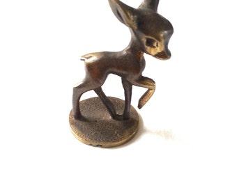 Vintage solid  brass  bambi / deer